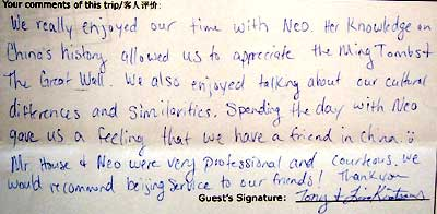 Beijing Tour Testimonial, click here to see more.